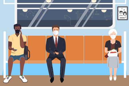 Illustration pour People wearing protective medical masks sitting in subway. COVID-19 virus prevention, people social distancing for infection risk. Vector illustration - image libre de droit