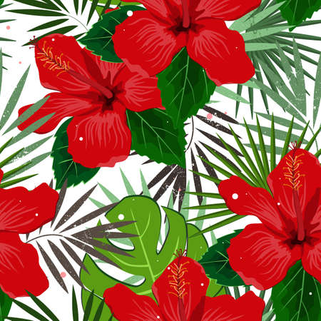 Illustration pour Seamless vector floral summer pattern background with tropical palm leaves and hibiscus flowers. Perfect for wallpapers, web page backgrounds, surface textures, textile - image libre de droit