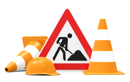 Photo for Under construction, road sign, traffic cones and safety helmet, isolated on white background 3D rendering - Royalty Free Image