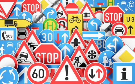 Foto de Background with many traffic signs 3D rendering - Imagen libre de derechos