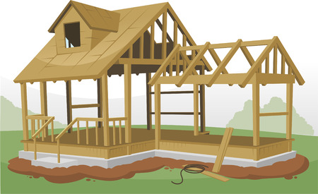 Home Construction Framing Structure, vector illustration cartoon.
