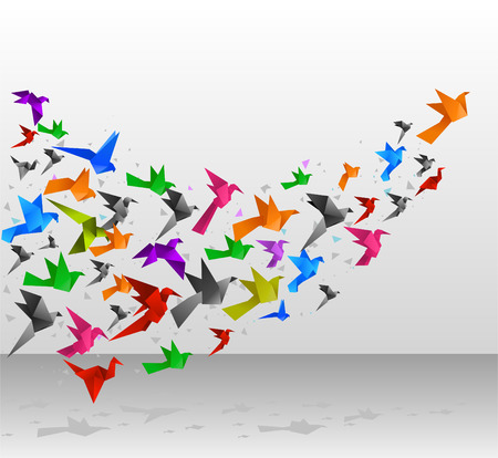 Origami Birds Flying Upwards vector illustration.