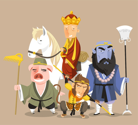Illustration for Journey to the West Chinese Mythology Novel Tale, vector illustration cartoon. - Royalty Free Image