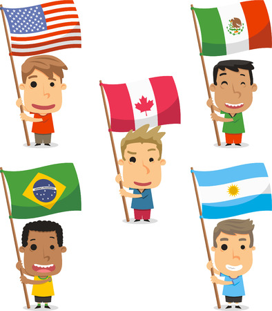 Flag Bearer Kids from America, USA, EEUU, Mexico, Canada, Brazil, Argentina. Vector illustration cartoon.