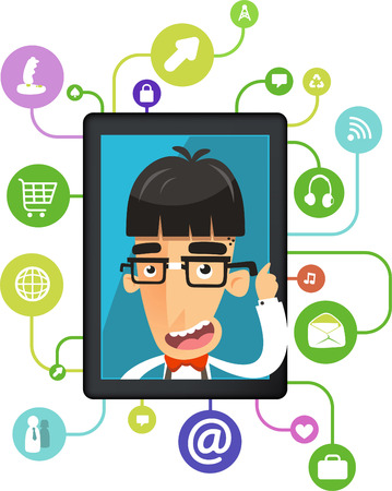 The most intelligent analyzing brain app for nerd eccentric nerds geek vector illustration.