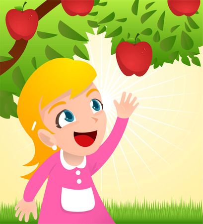 Girl grabbing an apple from a tree