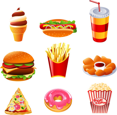 Fast food vector icon collection