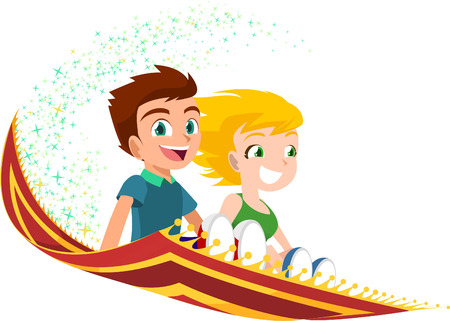 kids flying on a Magic Carpet vector illustration. With two happy smiling children riding a magic rug vector illustration cartoon.