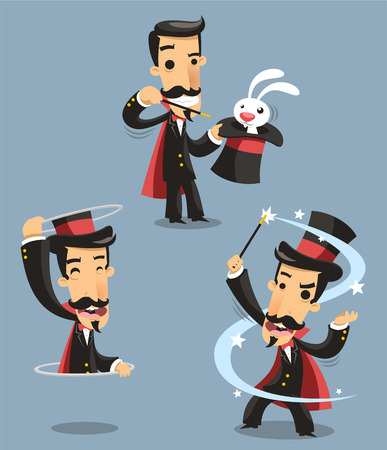Magician Magic Trick Performance, with rabbit, magic trick, appearance. Vector illustration cartoon.