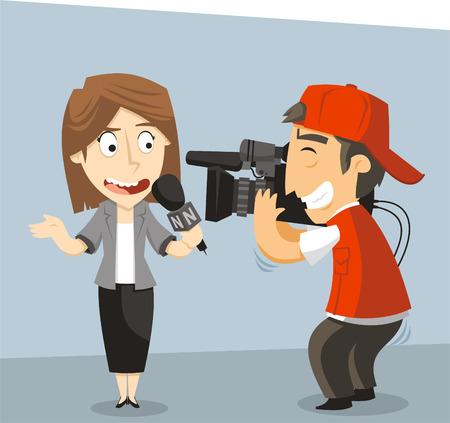 Journalist News Reporter Interview, with journalist and interviewee. Vector illustration cartoon.