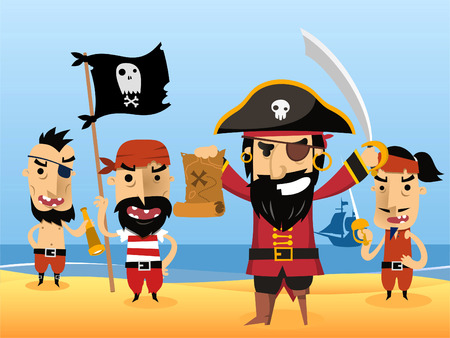 Pirate Characters with flag sword eye patch skull vector illustration.
