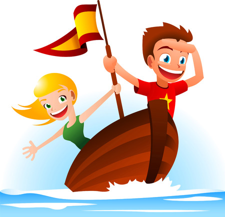A boy and a girl sailing away, looking for adventure.