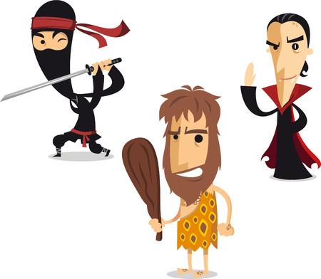 Halloween night cartoon costume illustration ninja, caveman and vampire