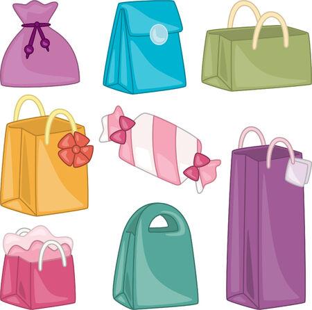 Gift bag cartoon illustration collection