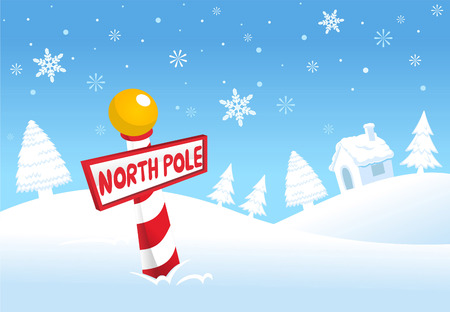 North pole christmas scene