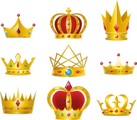 Set of 9 golden crowns vector illustration design