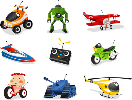 Illustration pour Remote control toy collection, includes car, boat, airplane, helicopter, robot and many more. - image libre de droit