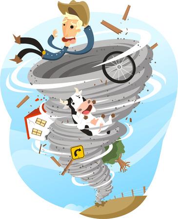 Ilustración de Tornado Storm Twister Cloud Wind Rain Weather, vector illustration cartoon. - Imagen libre de derechos