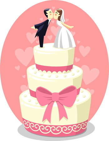 Photo pour Wedding Cake with Bride and Groom Figurines, vector illustration cartoon. - image libre de droit