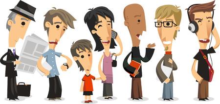 Illustration pour Waiting Line Standing people in a Row, vector illustration cartoon. - image libre de droit