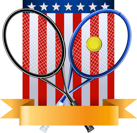 American tennis emblem with rackets ball and EEUU flag vector illustration, with seven stars and banner.