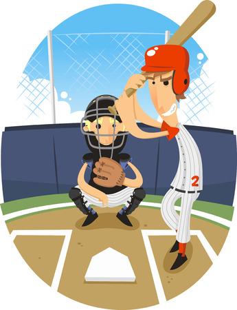 Baseball Batter Batting with Catcher vector illustration.