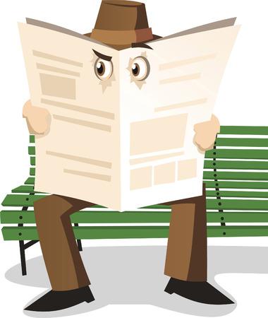 Detective Private investigator spying through newspaper, vector illustration cartoon.