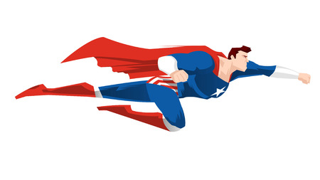 Superhero flying ready to work with red cape and boots, and a blue super hero garment vector illustration. Star shape on its chest.