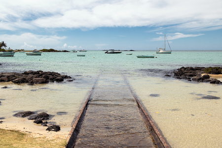 Beached ramp on the north coast of Mauritius