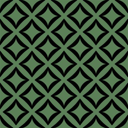 Illustration for Black pattern on green seamless vector background. - Royalty Free Image