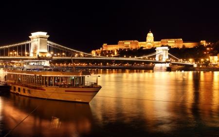 Budapest and chain bridge,Hungary