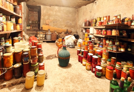 Old Cellar  - pantry with food