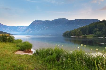 Beautiful view  Lake, mountain, reflection  Lake Bohinj  Slovenia