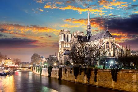 Foto de Island Cite with cathedral Notre Dame de Paris - Imagen libre de derechos
