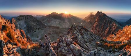 Sunset panorama mountain nature autumn landscape, Slovakia
