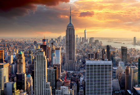 Photo for New York skyline at sunset, USA. - Royalty Free Image