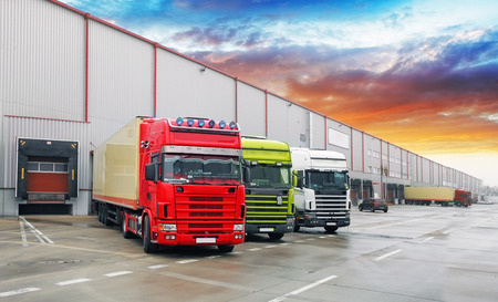 Photo for Truck at warehouse, Freight Transport - Royalty Free Image