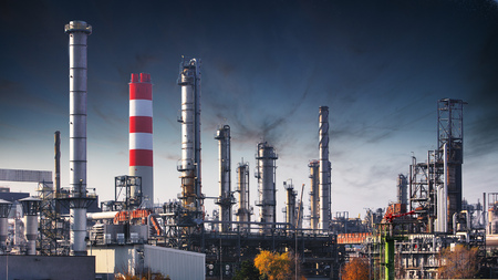 Photo for Factory at night, Chemical industry - Royalty Free Image