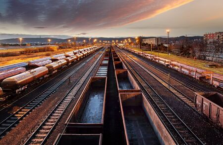 Photo for Railway station freight trains, Cargo transport - Royalty Free Image