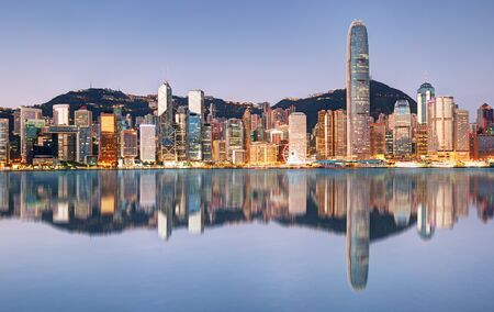Photo for Night and Skyline of Urban Architecture in Hong Kong - Royalty Free Image
