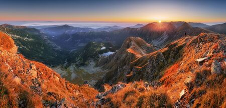 Photo for Panoramic Beautiful Carpathian mountains in autumn - Royalty Free Image