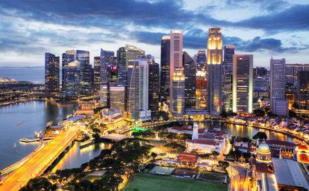 Foto für Panoramic image of Singapore skyline at night. - Lizenzfreies Bild
