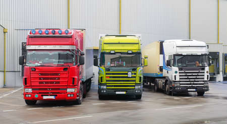 Industrial building and warehouse with freight trucks - Logistic