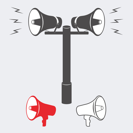 Vector illustration of speakers with an announcement or alarm sounding. Vector Speaker or Alarm. Two industrial Alarm or announcement speakers
