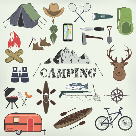 Set of camping equipment symbols and icons. Vector Illustration