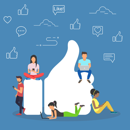Ilustración de Like. Flat design of guys and women near big symbol - Imagen libre de derechos
