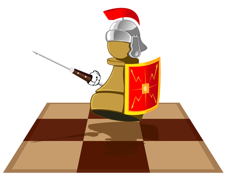 chess piece represented in the kind of Roman legionary. abstract vector illustration