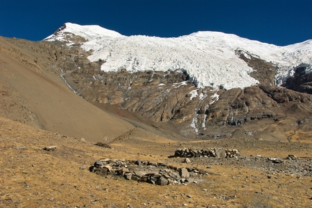 Mt  Nojin Kangtsang, snow covered 7191 high peak at Karo La, 4960 m high pass
