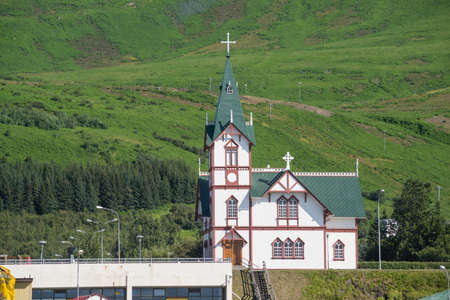Husavik  church seen from the whaling boat