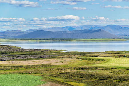 Lake Myvatn and Hverfell crater, from a road to Husavik